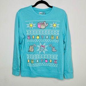 Pusheen Cat Festive Holiday Print Cute Pullover